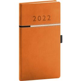 Kapesní diář Tomy 2022, oranžovočerný, 9 × 15,5 cm