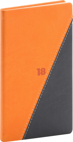 Kapesní diář Triangl 2018, černooranžový, 9 x 15,5 cm