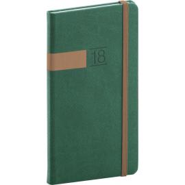 Kapesní diář Twill 2018, zelenobronzový, 9 x 15,5 cm