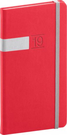 Kapesní diář Twill 2019, červený, 9 x 15,5 cm