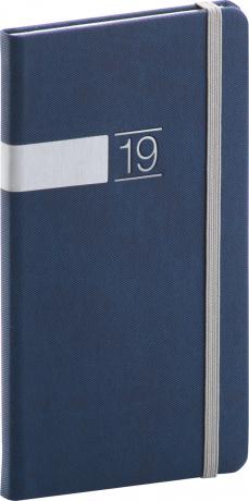 Kapesní diář Twill 2019, modrý, 9 x 15,5 cm