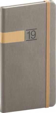 Kapesní diář Twill 2019, šedý, 9 x 15,5 cm