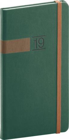 Kapesní diář Twill 2019, zelený, 9 x 15,5 cm