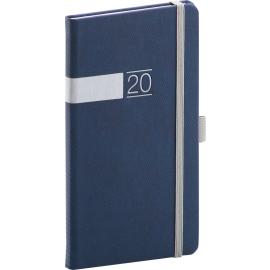 Kapesní diář Twill 2020, modrostříbrný 9 × 15,5 cm
