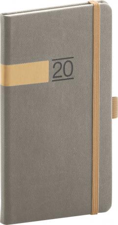 Kapesní diář Twill 2020, šedozlatý 9 × 15,5 cm