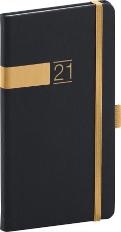 Kapesní diář Twill 2021, černozlatý, 9 × 15,5 cm
