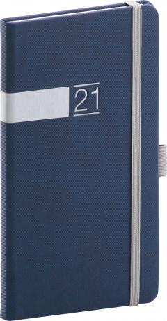 Kapesní diář Twill 2021, modrostříbrný, 9 × 15,5 cm