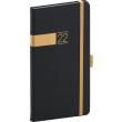 Kapesní diář Twill 2022, černozlatý, 9 × 15,5 cm