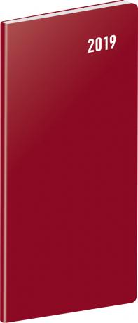 Kapesní diář Vínový 2019, plánovací měsíční, 8 x 18 cm