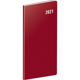 Pocket diary Burgundy, planning monthly 2021, 8 × 18 cm