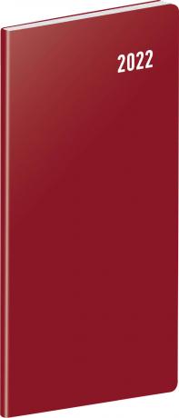 Kapesní diář Vínový 2022, plánovací měsíční, 8 × 18 cm