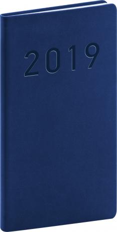 Kapesní diář Vivella Classic 2019, modrý, 9 x 15,5 cm
