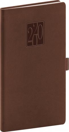 Kapesní diář Vivella Classic 2020, hnědý 9 × 15,5 cm