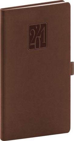 Kapesní diář Vivella Classic 2021, hnědý 9 × 15,5 cm