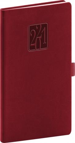 Kapesní diář Vivella Classic 2021, vínový, 9 × 15,5 cm