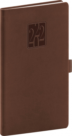 Kapesní diář Vivella Classic 2022, hnědý 9 × 15,5 cm
