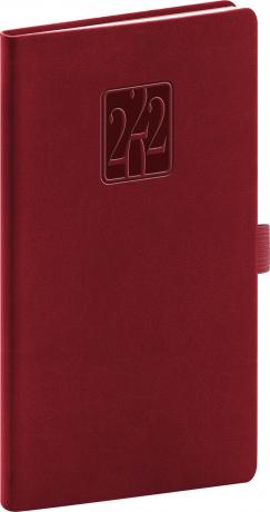 Kapesní diář Vivella Classic 2022, vínový, 9 × 15,5 cm
