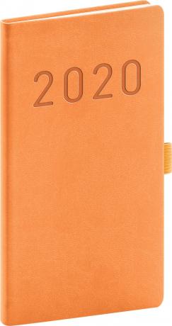 Kapesní diář Vivella Fun 2020, oranžový, 9 × 15,5 cm