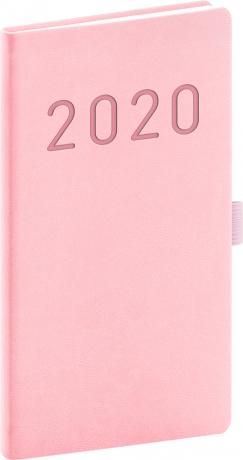 Kapesní diář Vivella Fun 2020, růžový, 9 × 15,5 cm