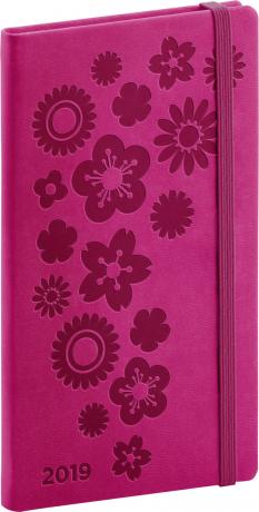 Kapesní diář Vivella Speciál 2019, růžový, 9 x 15,5 cm