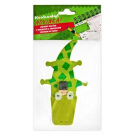 Krokodýl, dřevěný kolíček s magnetem a poutkem na tužku