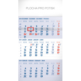Wall calendar 3months standard blue with Slovak names 2019, 29,5 x 43 cm