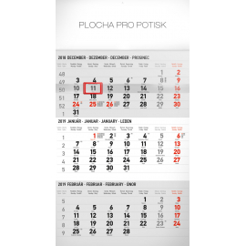 Wall calendar 3months standard grey with Slovak names 2019, 29,5 x 43 cm