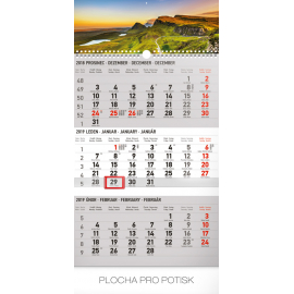 Wall calendar 3months Landscape grey with Czech names 2019, 29,5 x 43 cm