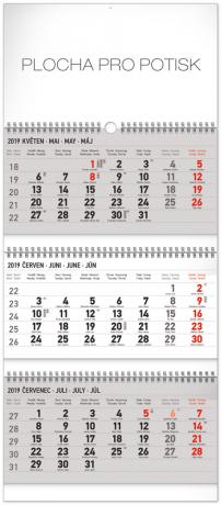 Nástěnný kalendář 3 měsíční standard skládací CZ 2019, 29,5 x 72 cm
