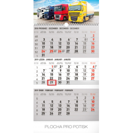 Wall calendar 3months Truck grey with Czech names 2019, 29,5 x 43 cm