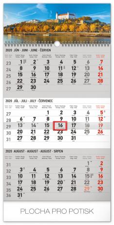 Nástěnný kalendář 3mesačný Bratislava šedý – so slovenskými menami SK 2020, 29,5 × 43 cm