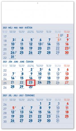 Nástěnný kalendář 3mesačný štandard modrý – se slovenskými jmény SK 2021, 29,5 × 43 cm
