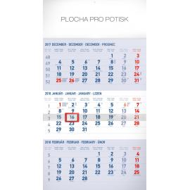 Nástěnný kalendář 3mesačný štandard modrý – so slovenskými menami SK 2018, 29,5 x 43 cm