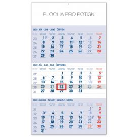 Nástěnný kalendář 3mesačný štandard modrý – so slovenskými menami SK 2020, 29,5 × 43 cm