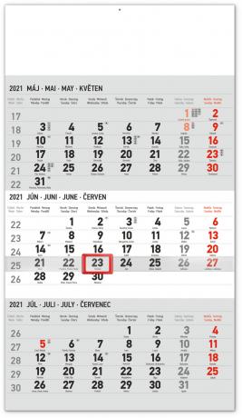 Nástěnný kalendář 3mesačný štandard šedý – se slovenskými jmény SK 2021, 29,5 × 43 cm
