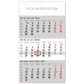 Nástěnný kalendář 3mesačný štandard šedý – so slovenskými menami SK 2020, 29,5 × 43 cm