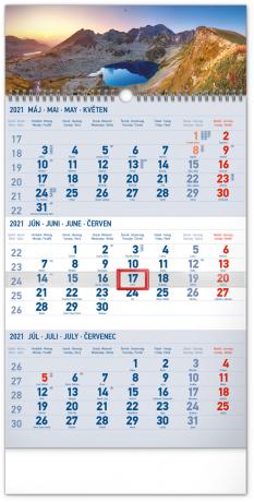 Nástěnný kalendář 3mesačný Tatry modrý – se slovenskými jmény SK 2021, 29,5 × 43 cm