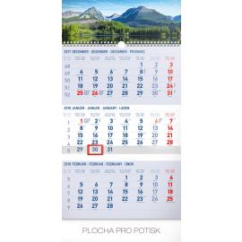 Wall calendar 3mesačný Tatry modrý – so slovenskými menami SK 2018, 29,5 x 43 cm