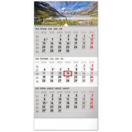 Nástěnný kalendář 3měsíční Krajina šedý – s českými jmény 2022, 29,5 × 43 cm
