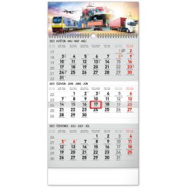 Wall calendar 3months Spedition grey with Czech names 2021, 29,5 × 43 cm