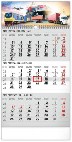 Nástěnný kalendář 3měsíční Spedice šedý – s českými jmény 2021, 29,5 × 43 cm