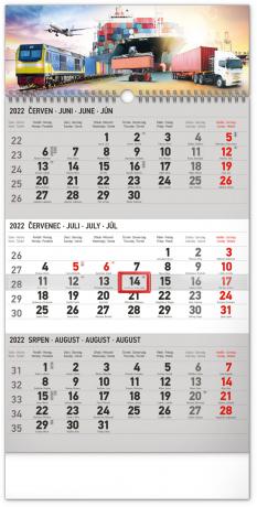 Nástěnný kalendář 3měsíční Spedice šedý – s českými jmény 2022, 29,5 × 43 cm