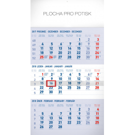 Nástěnný kalendář 3měsíční standard modrý – s českými jmény 2018, 29,5 x 43 cm