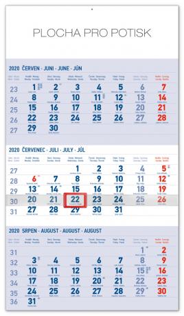 Nástěnný kalendář 3měsíční standard modrý – s českými jmény 2020, 29,5 × 43 cm