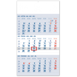 Wall calendar 3months Standard blue with Czech names 2021, 29,5 × 43 cm