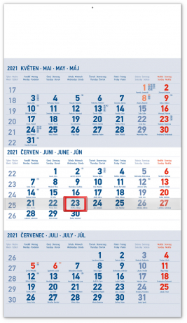 Nástěnný kalendář 3měsíční standard modrý – s českými jmény 2021, 29,5 × 43 cm