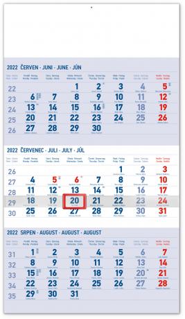 Nástěnný kalendář 3měsíční standard modrý – s českými jmény 2022, 29,5 × 43 cm