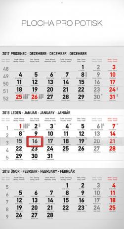 Nástěnný kalendář 3měsíční standard šedý – s českými jmény 2018, 29,5 x 43 cm