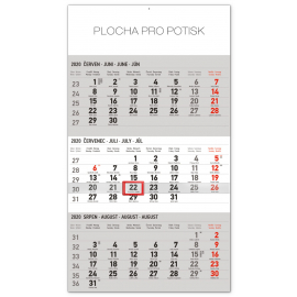 Wall calendar 3months standard grey with Czech names 2020, 29,5 × 43 cm