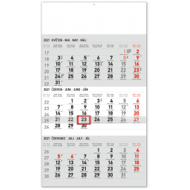 Wall calendar 3months Standard grey with Czech names 2021, 29,5 × 43 cm